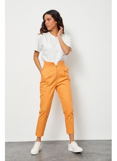 Setre Oranj Yüksek Bel Fermuarlı Pantolon Oranj